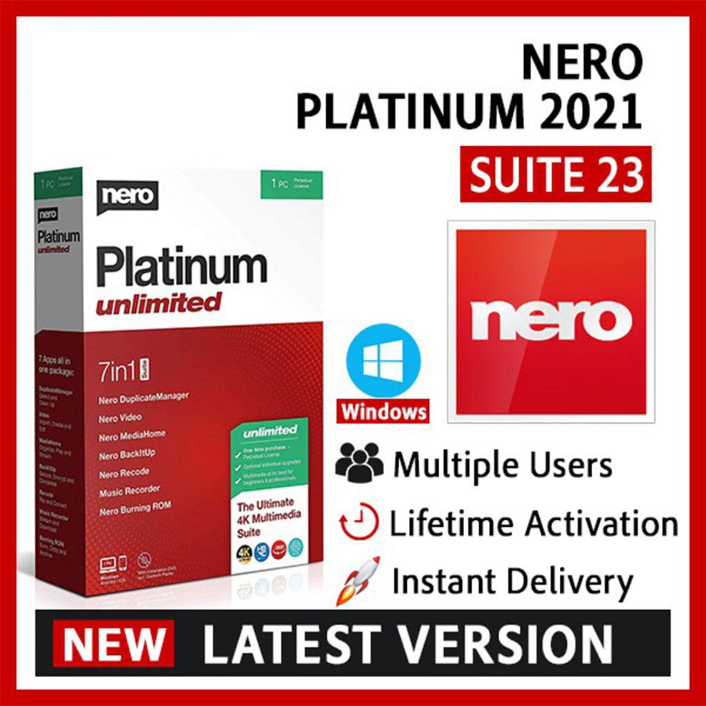 Nero Platinum 2021 Suite v23.0.1 | 7 in 1 | Lifetime License  – Full Version [ Windows OS ]
