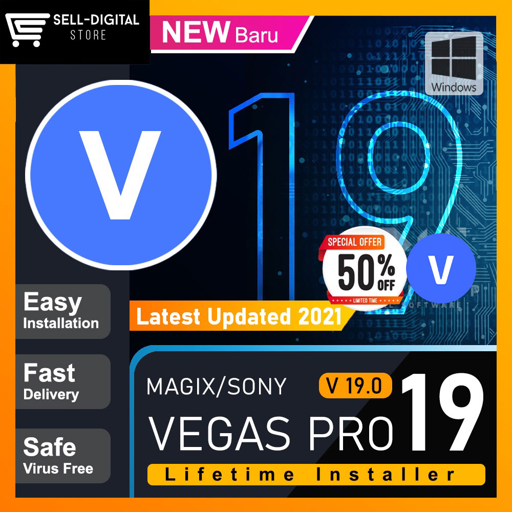 Sony Vegas Pro 19 – Full Version [ Windows ]  Lifetime Activation 64 Bit No Watermark | 100%work